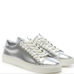Tory Burch Ruffle Sneaker in Silver Metallic